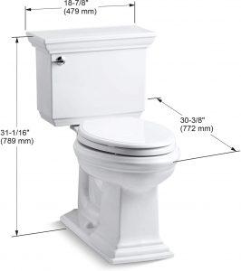 kohler memoirs toilet dimensions