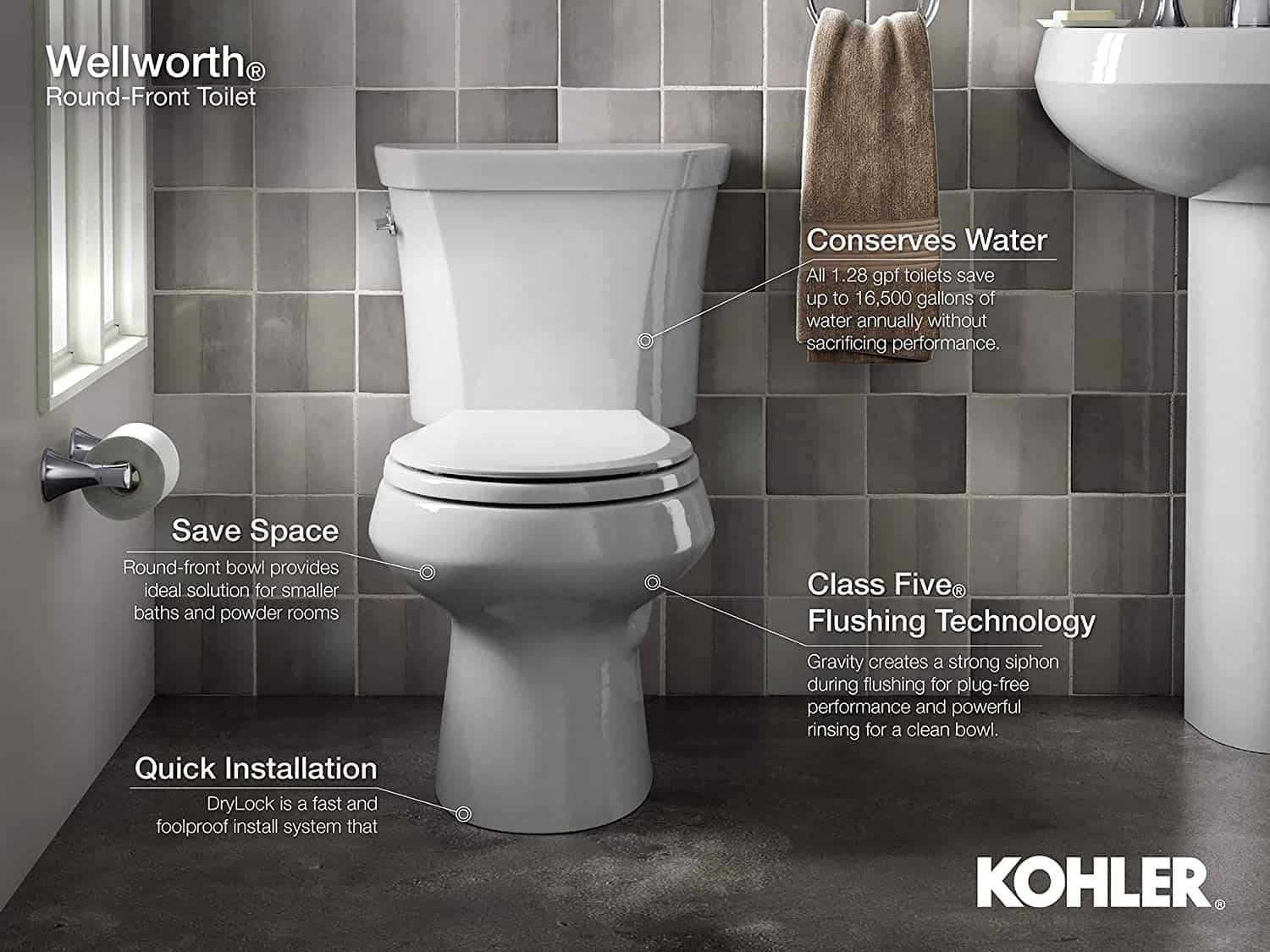 wellworth toilet from kohler showing features