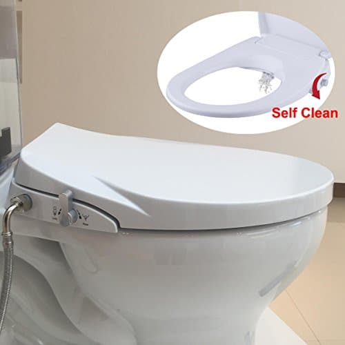 Hibbent Bidet Seat with Separated Self Clean Knob-Dual Nozzles for Rear& Feminine Cleaning-No Electricity Bidet Toilet Seat Sleek Design-ON/OFF Metal T Adapter Included (Elongated-SC206)