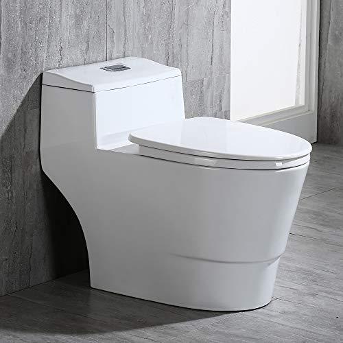 Woodbridge B0735/T-0018L Modern Design, One Piece Dual Flush 1.0/1.6 Gpf,with Soft Closing Seat, White, Elongated Toilet, B0735/T-0018