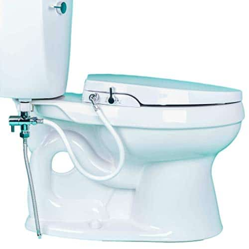 GenieBidet Seat-Self Cleaning Dual Nozzles. Rear & Feminine Cleaning - No wiring required. Simple 20-45 minute installation or less. Hybrid T with ON/OFF Included! [Travel Bidet Included]