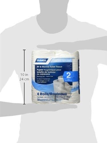 Camco RV Bathroom Tissue - 4 RollsSewer-Safe, Septic-Safe, Biodegradable 2-Ply Bath Tissue Designed for Trailer, Motorhome, & Marine Sanitation Systems (40274), White