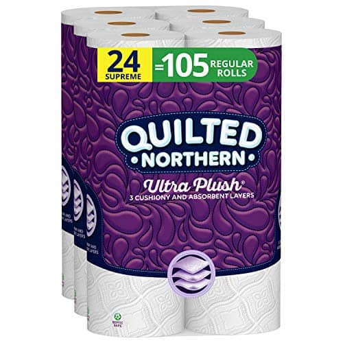 Quilted Northern Ultra Plush 24 Supreme Rolls, 24 = 99 Regular Rolls, 3 Ply Bath Tissue,8 Count (Pack of 3)