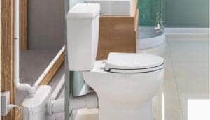 upflush toilet with macerator behind wall